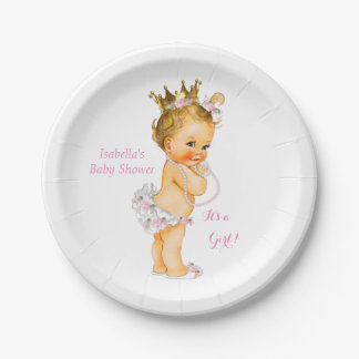 Princess Girl Baby Shower Pink Gold Crown Blonde Paper Plate