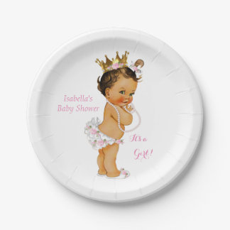 Princess Girl Baby Shower Pink Gold Crown Brunette Paper Plate
