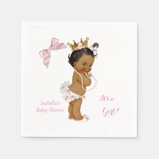 Princess Girl Baby Shower Pink Gold Crown Ethnic Napkin