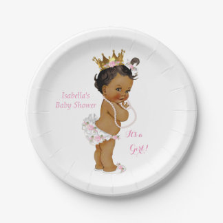 Princess Girl Baby Shower Pink Gold Crown Ethnic Paper Plate