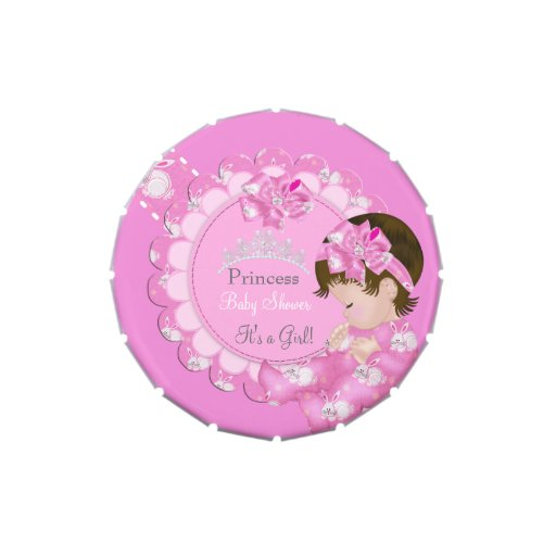 princess girl baby shower pink party favor candy tin zazzle