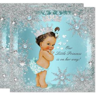 Princess Girl Baby Shower Teal Blue Heart Brunette Card