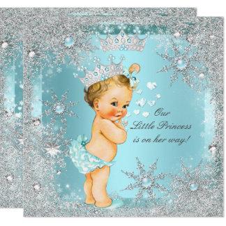 Princess Girl Baby Shower Teal Blue Hearts Blonde Card
