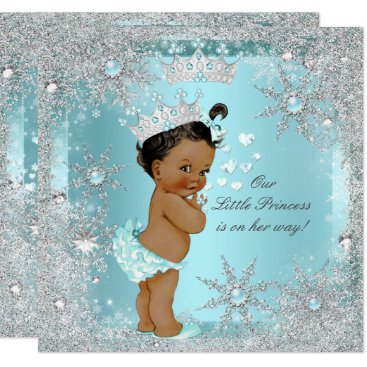 Toddler & Baby themed Princess Girl Baby Shower Teal Blue Hearts Ethnic Card
