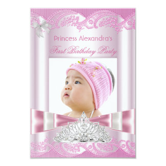 "Princess Girl First Birthday 1st Party 3.5"" X 5"" Invitation Card"