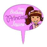 Princess girl named happy birthday cake topper