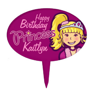 Princess girl named happy birthday cake topper