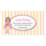 Princess Girl with Frog Striped Play Date Card Double-Sided Standard Business Cards (Pack Of 100)