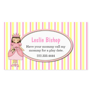 Princess Girl with Frog Striped Play Date Card Business Card Templates