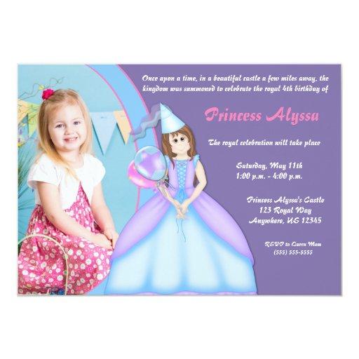 "Princess Girls Brunette Birthday Invitation 5"" X 7"" Invitation Card"