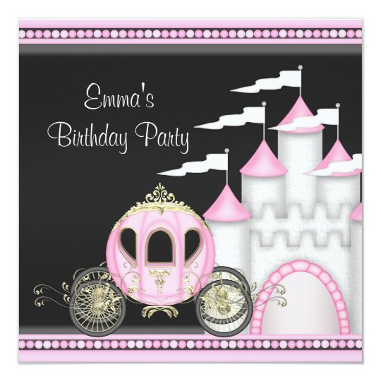Princess Girls Pink Black Princess Birthday Card