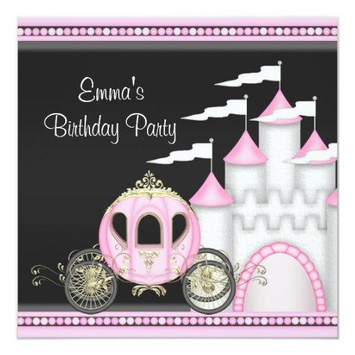 Princess Girls Pink Black Princess Birthday Custom Invitations