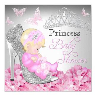 Princess Glitter Shoe Pink Baby Shower Invite