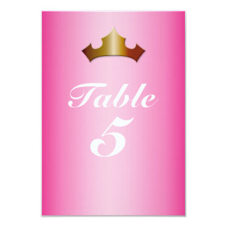 Princess Gold Crown Pink Party Table Number Card