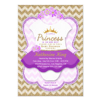 Princess Gold Glitter Tutu Baby Shower Invitation