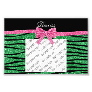 Princess green glitter zebra stripes pink bow photograph