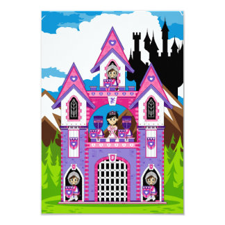Princess & Heart Knights Castle Scene RSVP Card