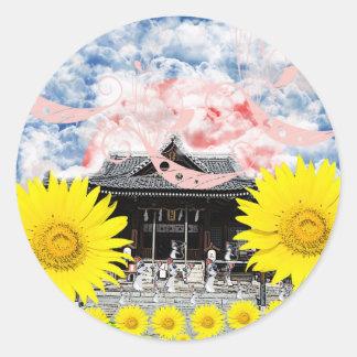 Princess hill shrine and invitation cat classic round sticker