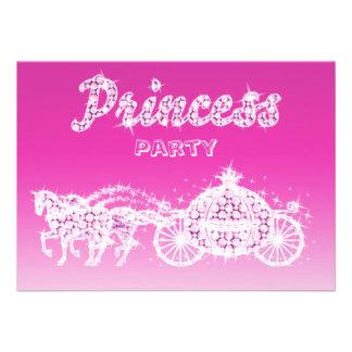 Princess Horses Carriage Birthday Party Custom Invitations
