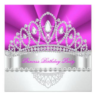 Princess Hot Pink Diamond Tiara Birthday Party Custom Announcements