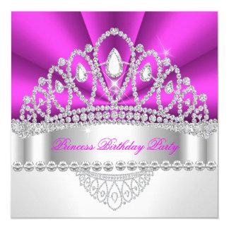 Princess Hot Pink Diamond Tiara Birthday Party 5.25x5.25 Square Paper Invitation Card
