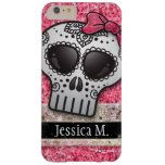 Princess Hot Pink Glitter Sugar Skull Monogram Barely There iPhone 6 Plus Case