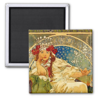 Princess Hyacinth by Mucha 2 Inch Square Magnet