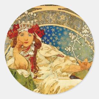 Princess Hyacinth by Mucha Classic Round Sticker