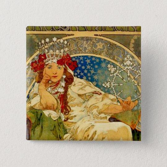 Princess Hyacinth by Mucha Pinback Button