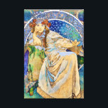 """Princess Hyacinth Vintage Theater Advertisement Canvas Print<br><div class=""""desc"""">Featuring a color lithograph vintage Art Nouveau style theater advertisement created in 1911 by Czech artist,  Alphonse Mucha,  for a fairy tale ballet called Princess Hyacinth (Princezna Hyacinta).</div>"""