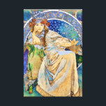 "Princess Hyacinth Vintage Theater Advertisement Canvas Print<br><div class=""desc"">Featuring a color lithograph vintage Art Nouveau style theater advertisement created in 1911 by Czech artist,  Alphonse Mucha,  for a fairy tale ballet called Princess Hyacinth (Princezna Hyacinta).</div>"