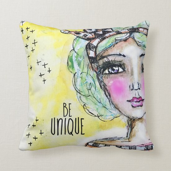 Princess Illustration Crown Girly Be Unique Cute Throw Pillow