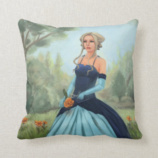 Princess in Blue Dress - Fairy Tale Art Throw Pillow