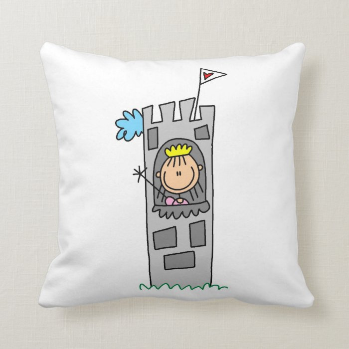 Princess in Castle Tower Throw Pillow