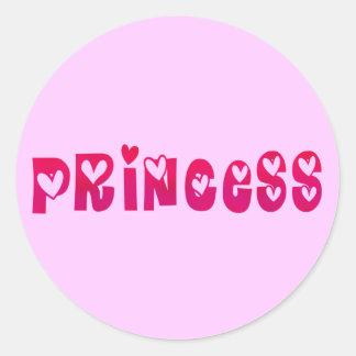 Princess in Hearts Classic Round Sticker