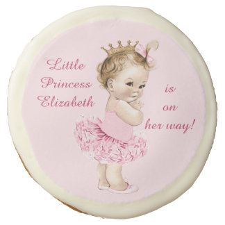 Princess in Pink Tutu Personalized Baby Shower Sugar Cookie