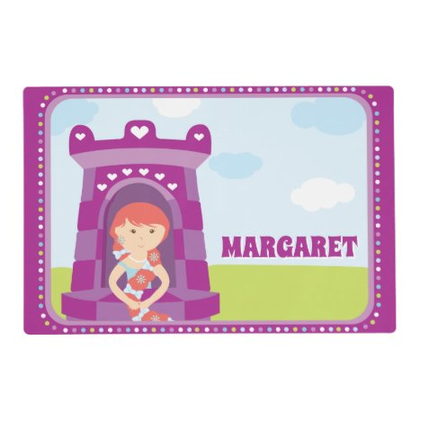 Princess In Purple Tower With Name Laminated Paper Placemat