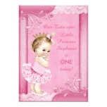 Princess in Tutu Baby 1st Birthday Faux Lace 5x7 Paper Invitation Card