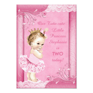 Princess in Tutu Baby 2nd Birthday Faux Lace Card