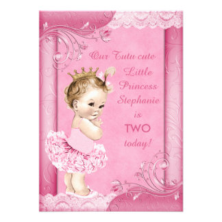Princess in Tutu Baby 2nd Birthday Faux Lace Custom Invitation