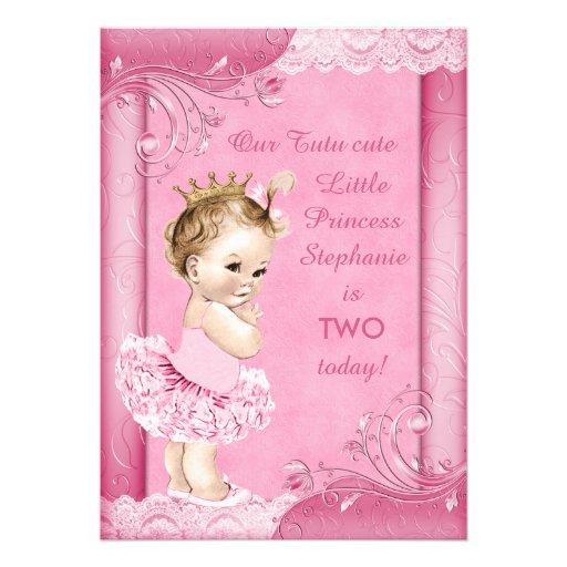Princess In Tutu Baby 2nd Birthday Faux Lace Custom Invitation