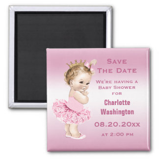 Princess in Tutu Baby Shower Save the Date Pink 2 Inch Square Magnet
