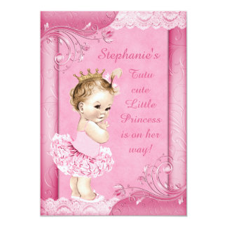 Princess in Tutu Faux Lace Baby Shower 5x7 Paper Invitation Card