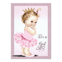 Princess in Tutu Polka Dots Baby Shower Custom Invitation