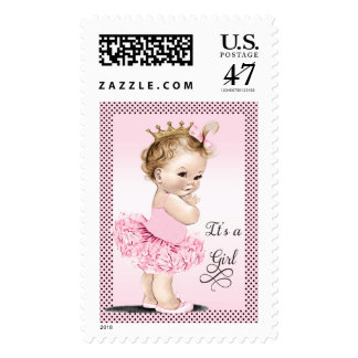 Princess in Tutu Polka Dots Baby Shower Postage