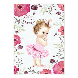 Princess in Tutu Watercolor Poppies Baby Shower 5x7 Paper Invitation Card