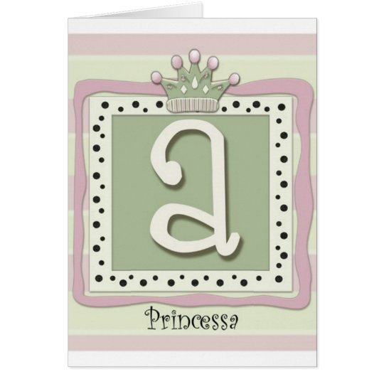 Princess Initial A Card