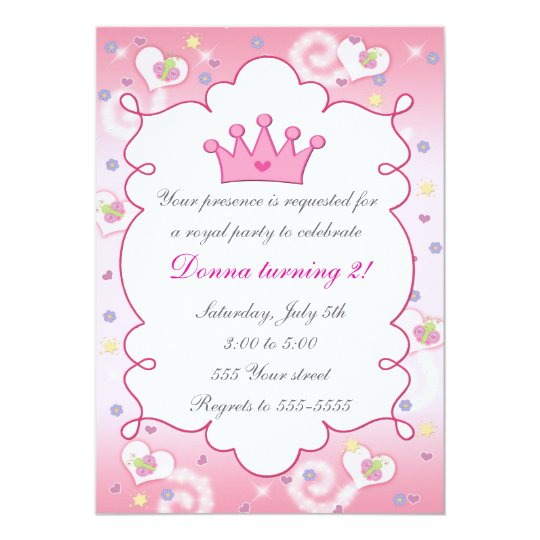 Princess Invitation Girl Birthday Party Butterfly