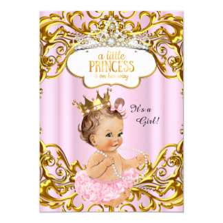 Princess is on her way Baby Shower Pink Brunette Card