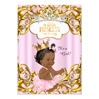Princess is on her way Baby Shower Pink Ethnic Card